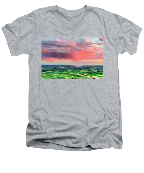 Men's V-Neck T-Shirt featuring the photograph Sunset Rain Over The Palouse by Bryan Carter