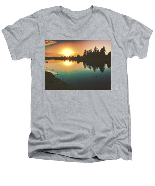 Sunset River Reflections  Men's V-Neck T-Shirt