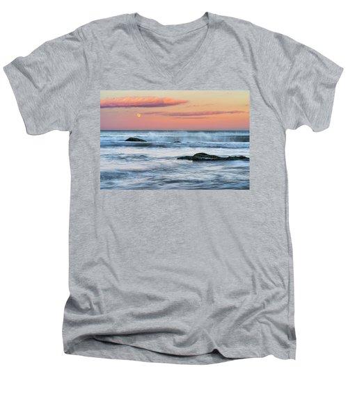 Super Moon And Sunset At Sozopol Town Beach Men's V-Neck T-Shirt