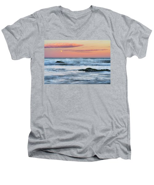 Super Moon And Sunset At Sozopol Town Beach Men's V-Neck T-Shirt