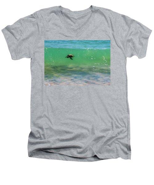 Surfing Turtle Men's V-Neck T-Shirt