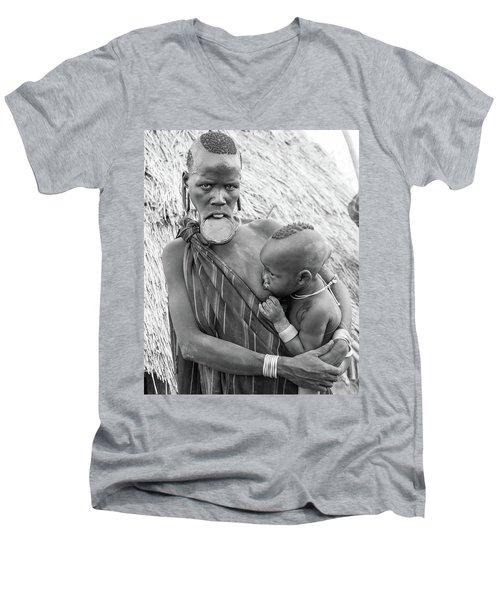 Mursi Mother And Child Men's V-Neck T-Shirt