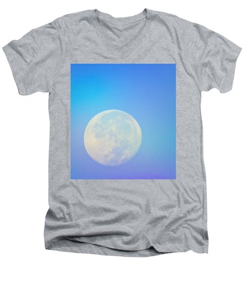 Men's V-Neck T-Shirt featuring the photograph Taurus Almost Full Moon Blend by Judy Kennedy