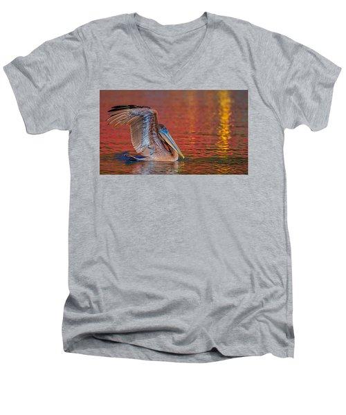 Tchefuncte Pelican Men's V-Neck T-Shirt