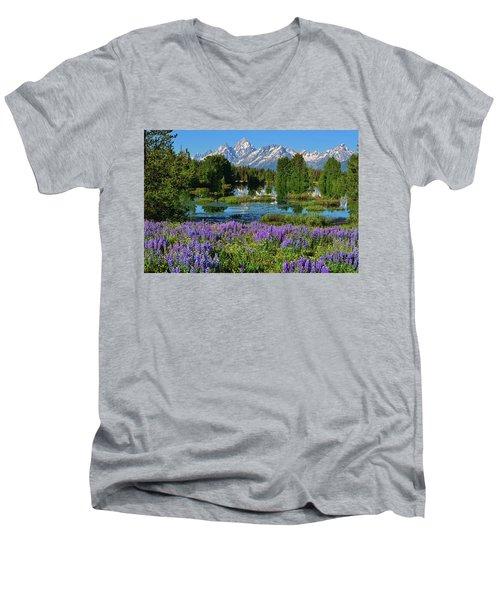 Tetons And Lupines Men's V-Neck T-Shirt