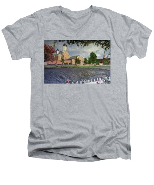 Thank Thee For The Church And The Temple  Vernal Utah Temple Men's V-Neck T-Shirt