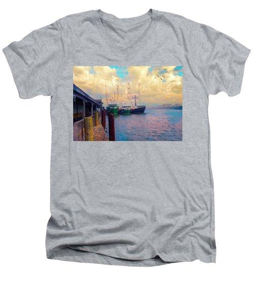 The Docks At Cape May Men's V-Neck T-Shirt