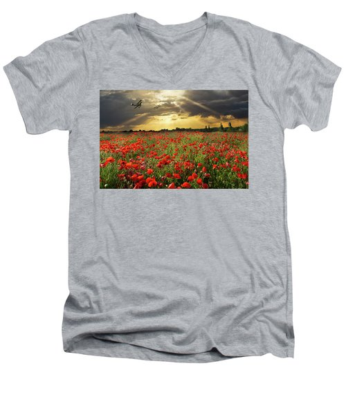 Men's V-Neck T-Shirt featuring the photograph The Final Sortie Wwi Version by Gary Eason