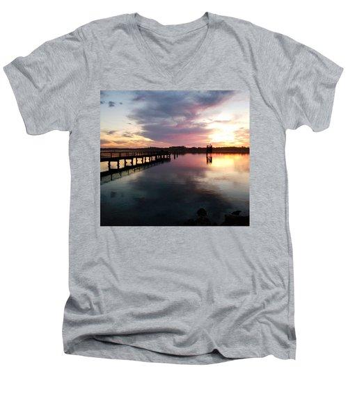 The Hollering Place Pier At Sunset Men's V-Neck T-Shirt