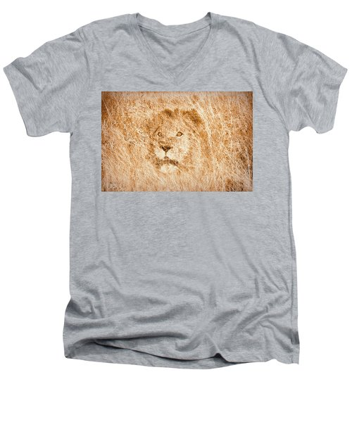Men's V-Neck T-Shirt featuring the digital art The King by Mark Allen