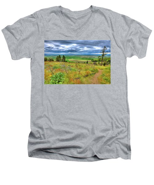 Men's V-Neck T-Shirt featuring the photograph The Path Down Kamiak Butte by David Patterson