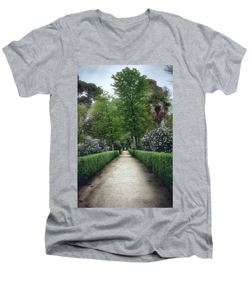Men's V-Neck T-Shirt featuring the photograph The Paths Of The Retiro Park by Eduardo Jose Accorinti