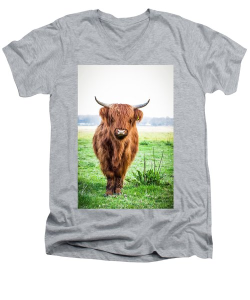 Men's V-Neck T-Shirt featuring the photograph The Scottish Highlander by Anjo Ten Kate