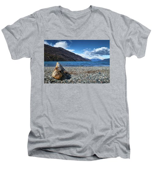 Men's V-Neck T-Shirt featuring the photograph The Trunk, The Lake And The Mountainous Landscape by Eduardo Jose Accorinti