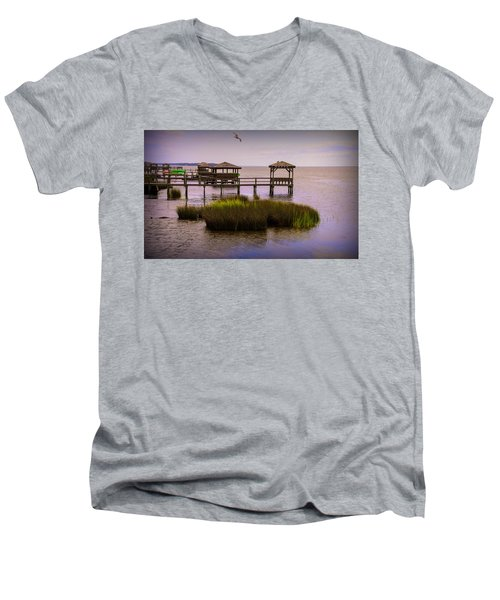 The Waterfront At Duck  Men's V-Neck T-Shirt