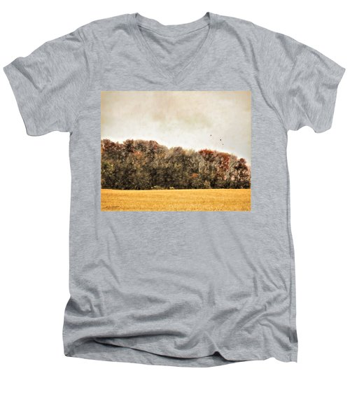 Three Crows And Golden Field Men's V-Neck T-Shirt