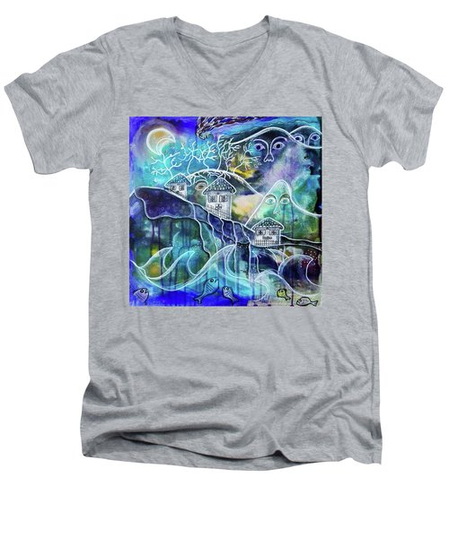 Three Houses On A Cliff Men's V-Neck T-Shirt