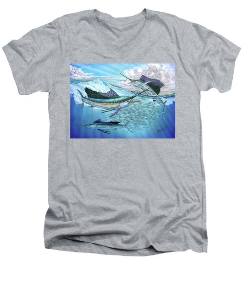 Three Sailfish And Bait Ball Men's V-Neck T-Shirt