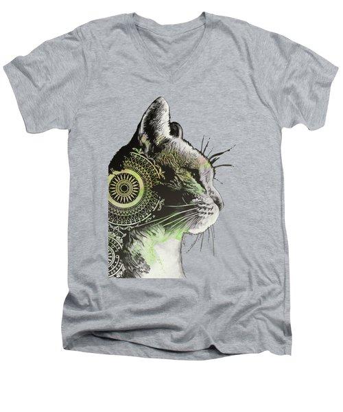 Tides Of Tomorrow - Lime - Mandala Cat Drawing Men's V-Neck T-Shirt