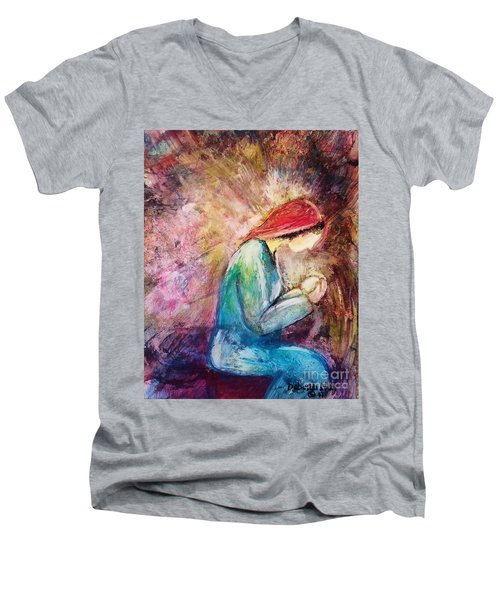 Men's V-Neck T-Shirt featuring the painting Tiny Treasure by Deborah Nell