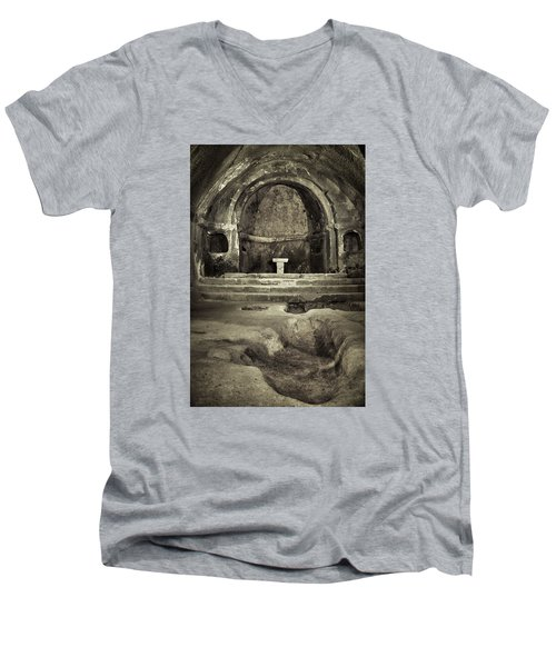 Men's V-Neck T-Shirt featuring the photograph Tomb And Altar In The Monastery Of San Pedro De Rocas by Eduardo Jose Accorinti