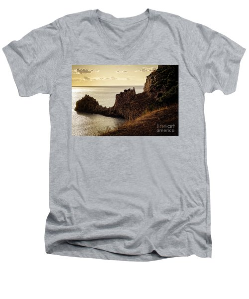 Tranquil Mediterranean Sunset    Men's V-Neck T-Shirt