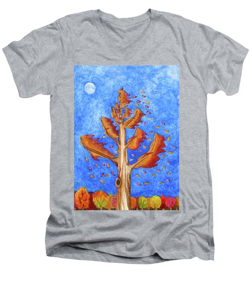 Tree In Autumn Wind I Men's V-Neck T-Shirt