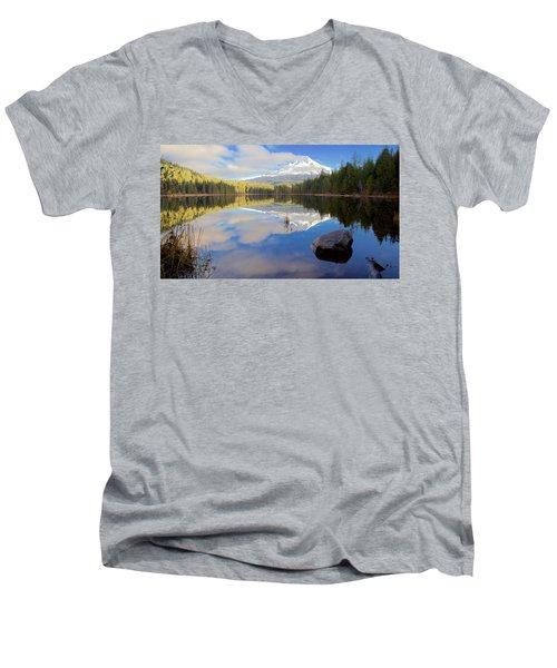Trillium Lake Morning Reflections Men's V-Neck T-Shirt