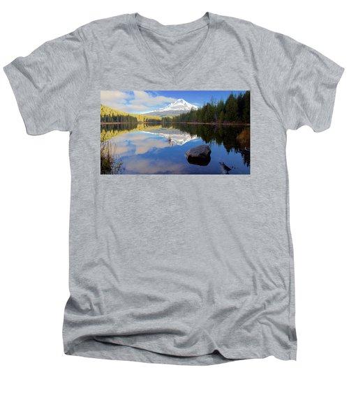 Trillium Lake November Morning Men's V-Neck T-Shirt