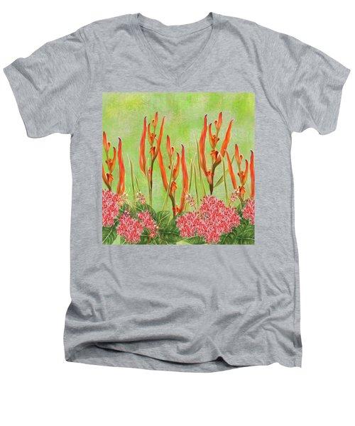 Tropical Floral Print Lime Green Batik Men's V-Neck T-Shirt