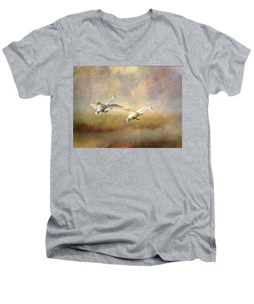 Trumpeter Swan Landing - Painterly Men's V-Neck T-Shirt