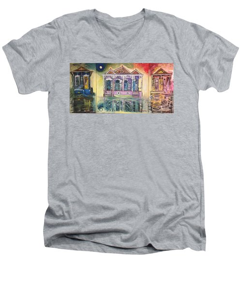 Tryptic On The Bayou New Orleans Men's V-Neck T-Shirt