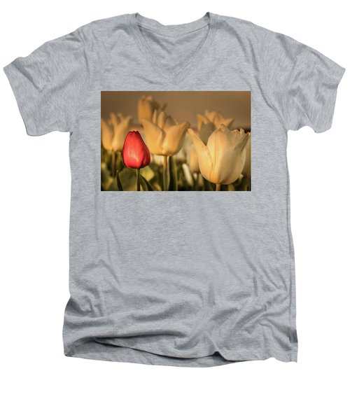 Men's V-Neck T-Shirt featuring the photograph Tulip Field by Anjo ten Kate