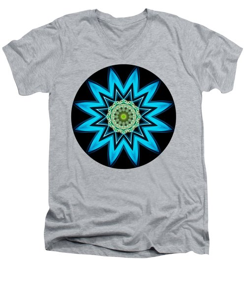 Turquoise Star Men's V-Neck T-Shirt
