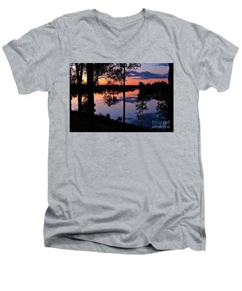 Twilight By The Lake Men's V-Neck T-Shirt
