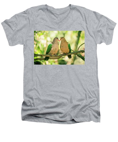 Two Colourful Doves Resting Outside On A Branch. Men's V-Neck T-Shirt