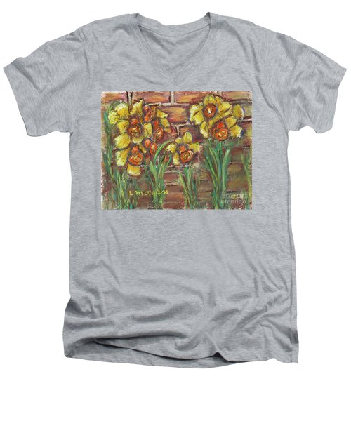 Two Toned Daffodils Men's V-Neck T-Shirt