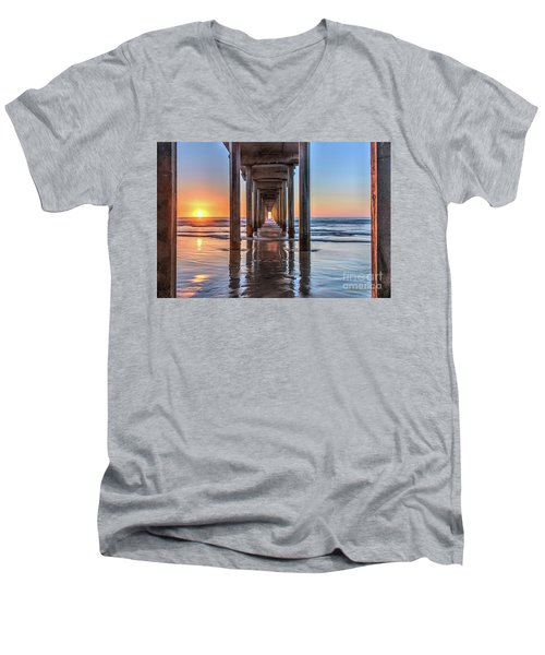 Under Scripps Pier At Sunset  ..autographed.. Men's V-Neck T-Shirt