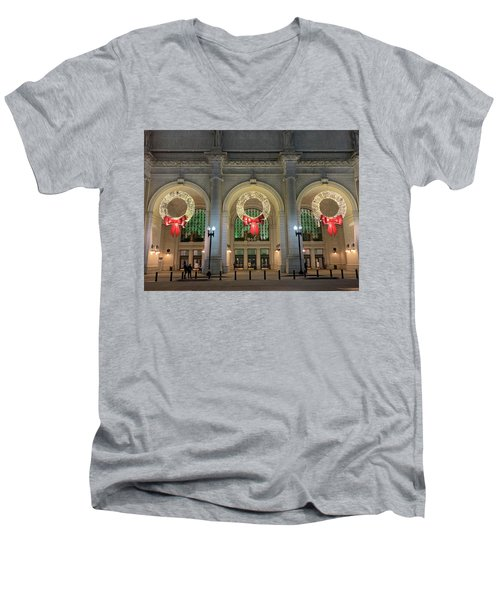 Union Station Holiday Men's V-Neck T-Shirt