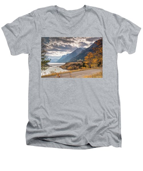 Men's V-Neck T-Shirt featuring the photograph Upper Waterton Lakes by Tim Kathka