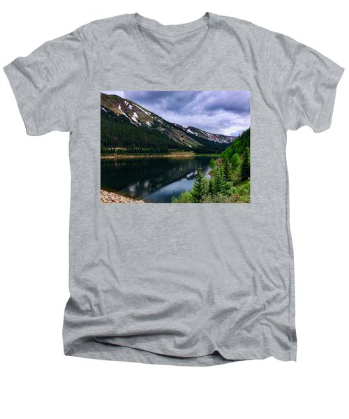 Men's V-Neck T-Shirt featuring the photograph Urad Lake by Dan Miller