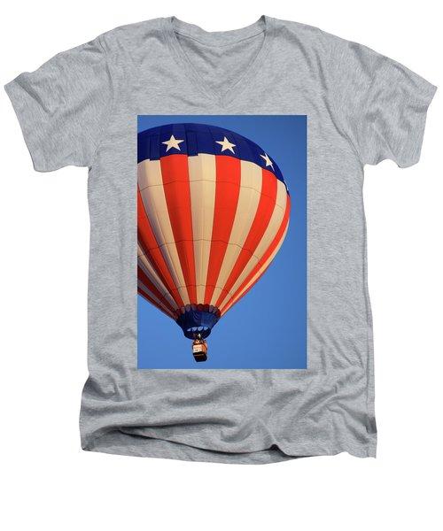 Usa Patriotic Hot Air Balloon Men's V-Neck T-Shirt