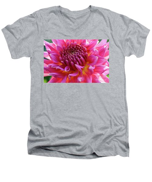Vibrant Dahlia Men's V-Neck T-Shirt