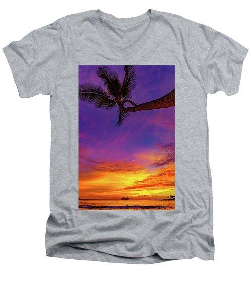 Vibrant Kona Inn Sunset Men's V-Neck T-Shirt