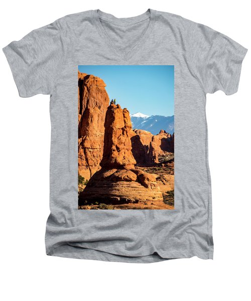 Men's V-Neck T-Shirt featuring the photograph Victory Dance by David Morefield
