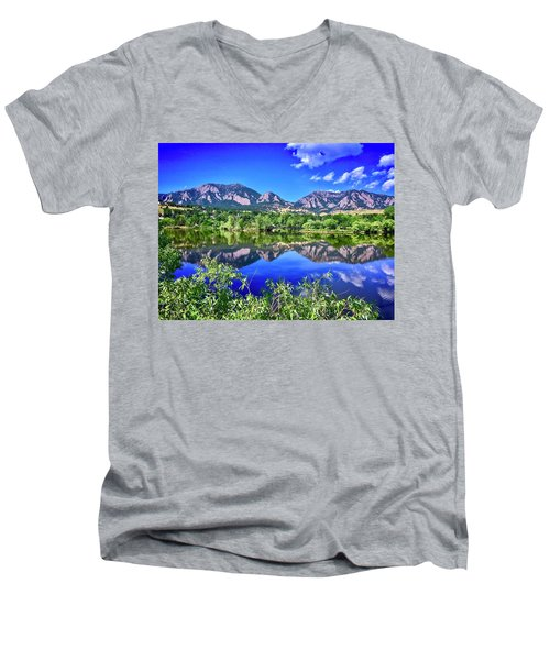 Men's V-Neck T-Shirt featuring the photograph Viele Lake 2 by Dan Miller