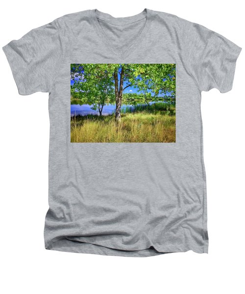 Men's V-Neck T-Shirt featuring the photograph Viele Lake 4 by Dan Miller