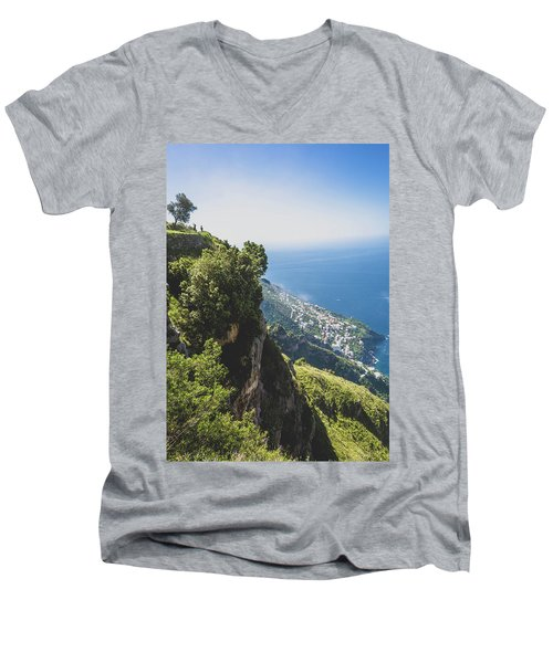 View Of Amalfi Italy From Path Of The Gods Men's V-Neck T-Shirt