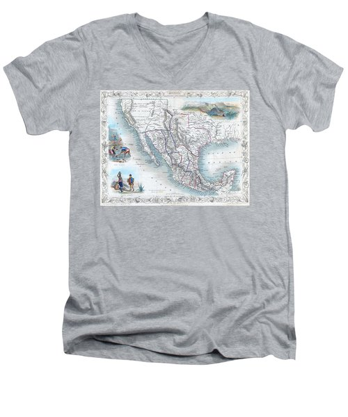 Vingage Map Of Texas, California And Mexico Men's V-Neck T-Shirt