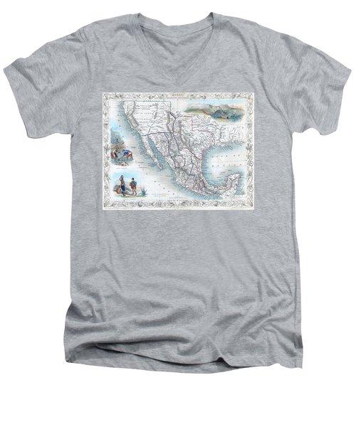 Vingage Map Of Texas, California And Mexico Men's V-Neck T-Shirt
